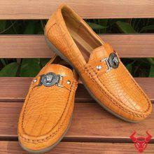 Giày Mọi Da Cá Sấu Thật GCS19 Vàng Bò