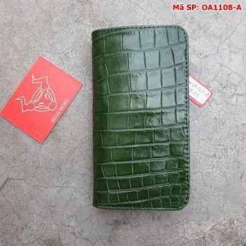 Bao Da Cá Sấu Iphone XS MAX Xanh Lá Trơn OA1108-A