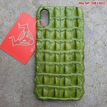 Ốp Lưng Cá Sấu Iphone 10 Xanh Rêu Gai Lưng OB1401