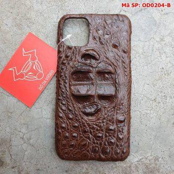Ốp Lưng Cá Sấu Iphone 11 promax Gù Nâu Đen OD0204-B