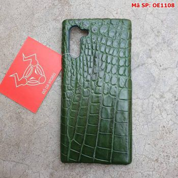 Ốp Lưng Cá Sấu Samsung Note 10 Trơn Xanh Lá OE1108
