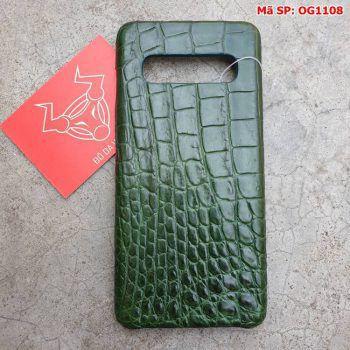 Ốp Lưng Cá Sấu Samsung S10 Plus Trơn Xanh Lá OG1108