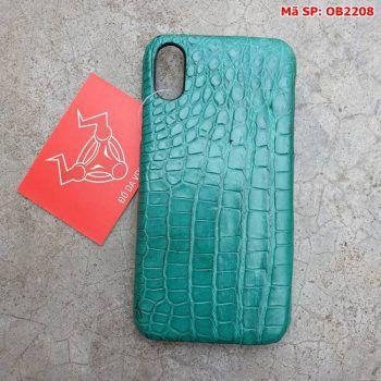 Ốp Lưng Cá Sấu Thật Iphone 10 Trơn Xanh Vechai OB2208