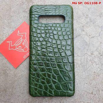 Ốp Lưng S10 Plus Da Cá Sấu Samsung Trơn Xanh Lá OG1108-P