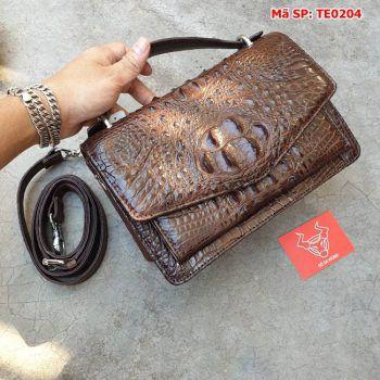 Túi Cá Sấu Phong Thư Nâu Đen TE0204
