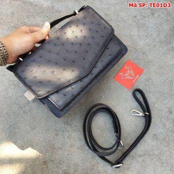 Túi Phong Thư Đà Điểu Thật VR360 Màu Đen TE01D3
