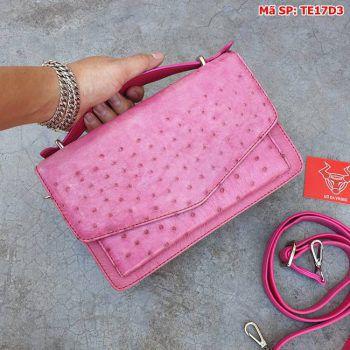 Túi Phong Thư Nữ Đà Điểu Giá Rẻ Màu Hồng Sen TE17D3