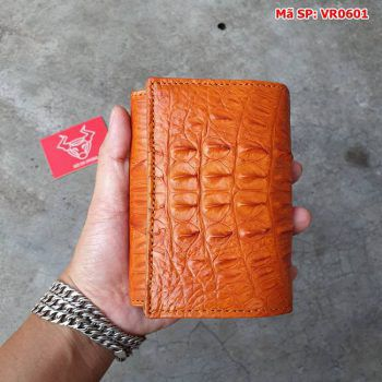 Ví Da Nam Cá Sấu 3 Gấp Gai Lưng Vàng Bò VR0601