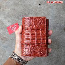 Ví Da Nam Nữ Cá Sấu Gai Lưng 3 Gấp Nâu Đỏ VR0401