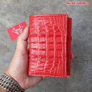 Ví Da Cá Sấu 3 Gấp Gai Lưng Màu Đỏ Tươi VR0801