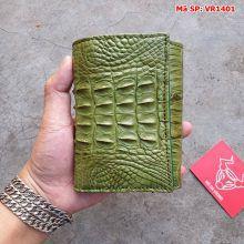 Ví Da Nam Nữ Cá Sấu 3 Gấp Gai Lưng Xanh Rêu VR1401