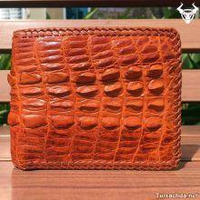 Bóp da cá sấu nam nguyên con đan viền VD0602