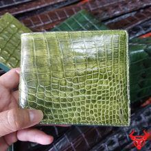 Bóp Ví Da Cá Sấu Xanh Rêu Trơn VB1408