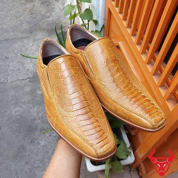 Giày Tây Da Đà Điểu Chân Gai Vàng Bò GB06D1