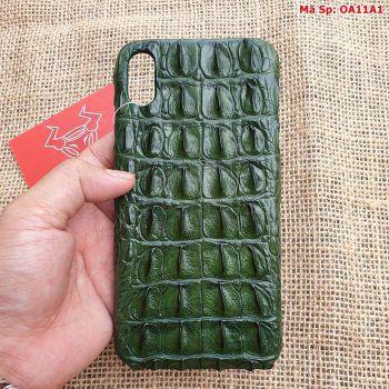 Ốp Iphone XSMAX Da Cá Sấu Xanh Lá OA11A1