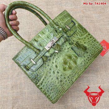 Túi xách nữ đeo chéo da cá sấu gù xanh rêu TA1404
