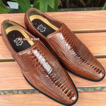 Giày Da Đà Điểu DD08 Kiểu Tây Nâu Đỏ