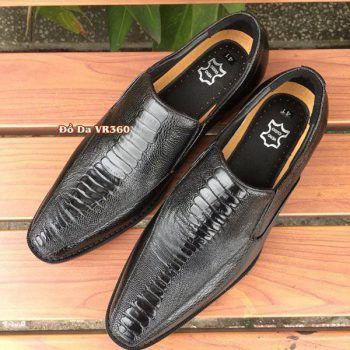 Giày Tây Da Đà Điểu DD10 Vây Chân Đen