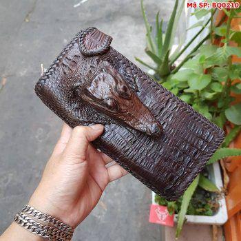 Ví Da Nam Cầm Tay 2 Gấp Đầu Cá Sấu BQ0210