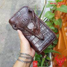 Ví Da Cầm Tay Cá Sấu Nam Màu Nâu BI0210